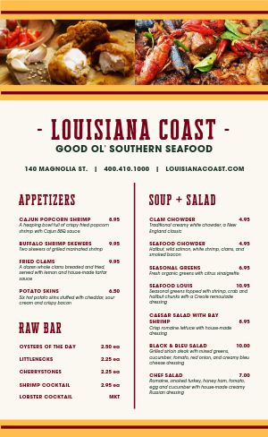 Louisiana Seafood Menu