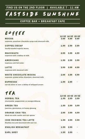 Coffee Breakfast Menu