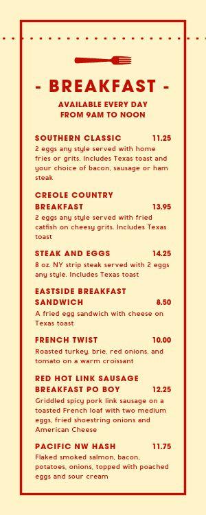 Southern Breakfast Half Page Menu